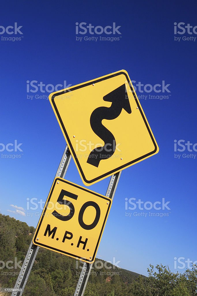 Winding Road Ahead Sign royalty-free stock photo