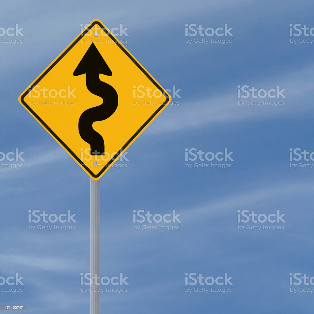 'Winding Road Ahead' Sign royalty-free stock photo
