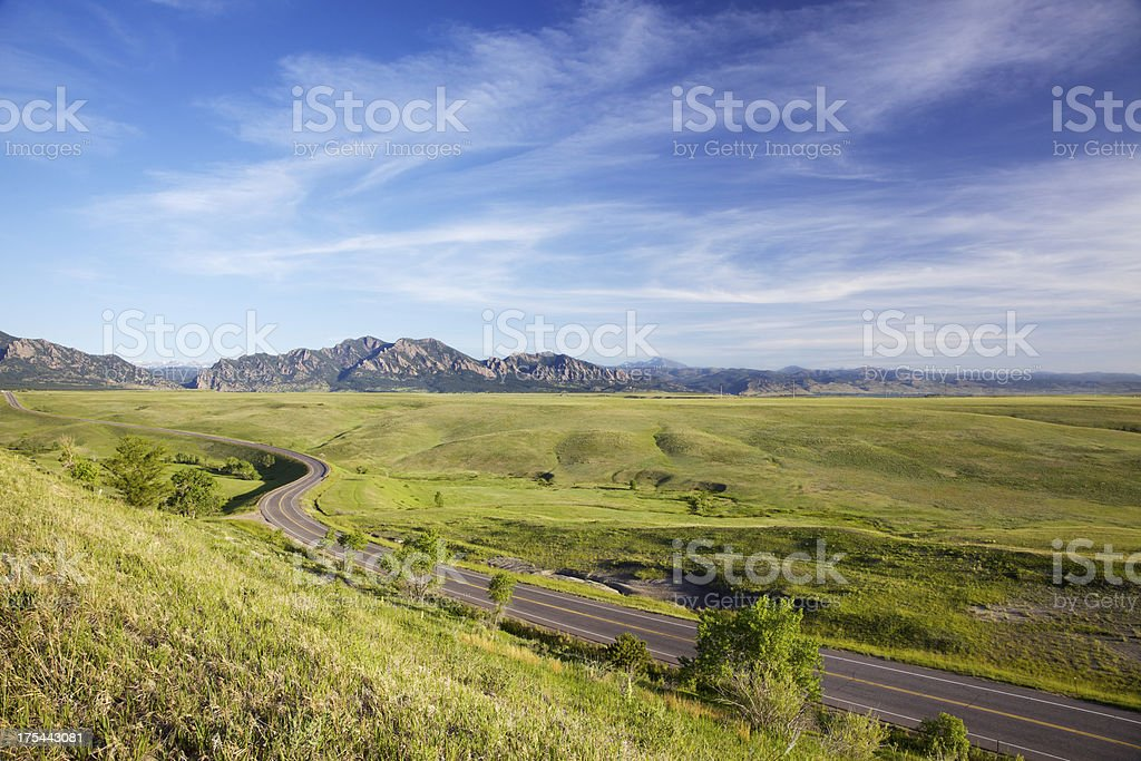 Winding Road and Flatirons of Boulder Colorado royalty-free stock photo