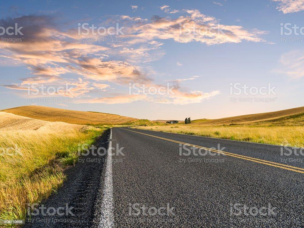 winding road at Palouse stock photo