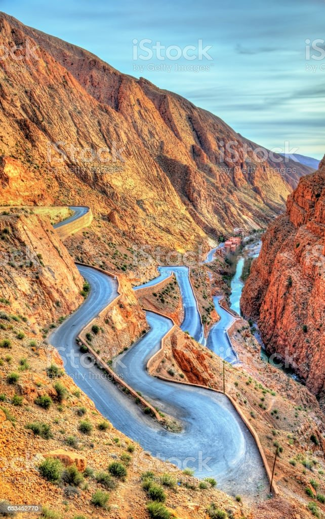 Winding road at the Dades Gorges in Morocco stock photo