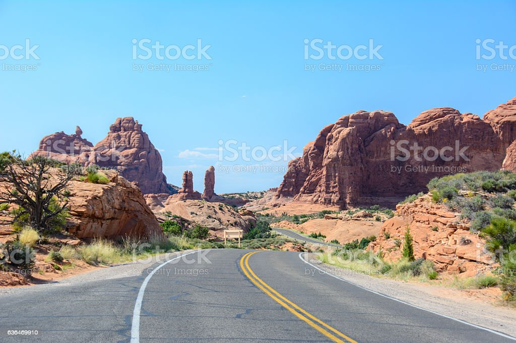 Winding road in Arches National Park, Moab, Utah, United States stock photo