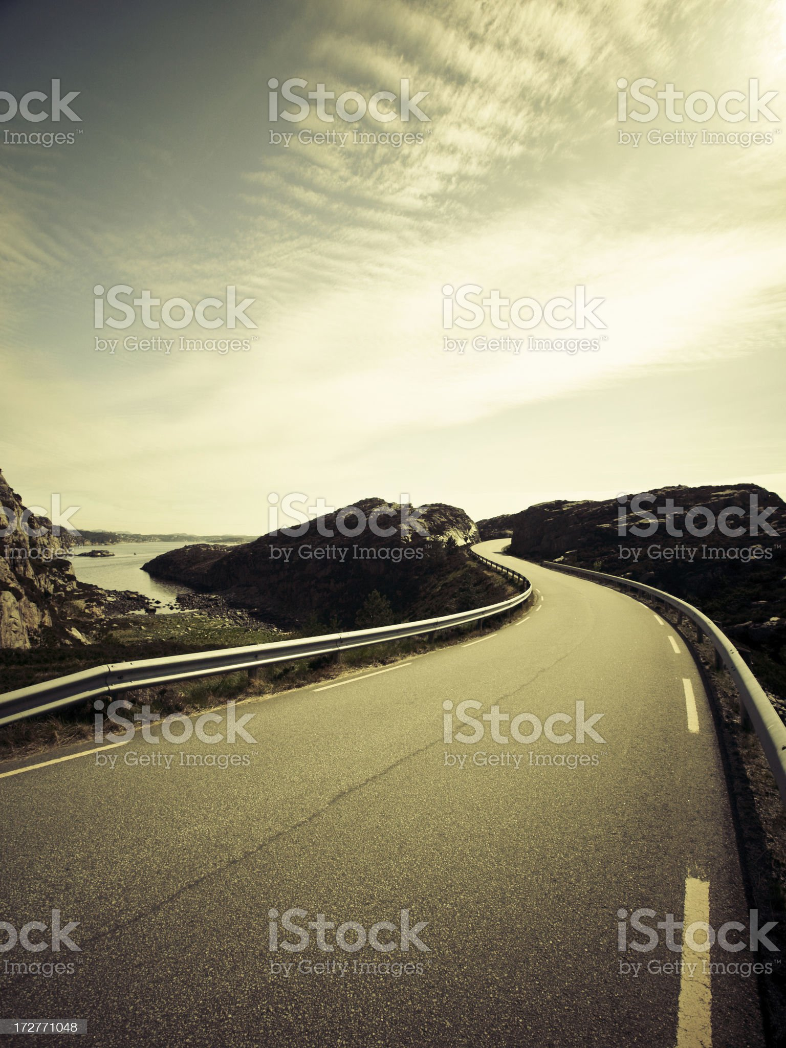 Winding road in Fjell Norway royalty-free stock photo