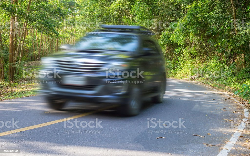 winding road in forest. stock photo