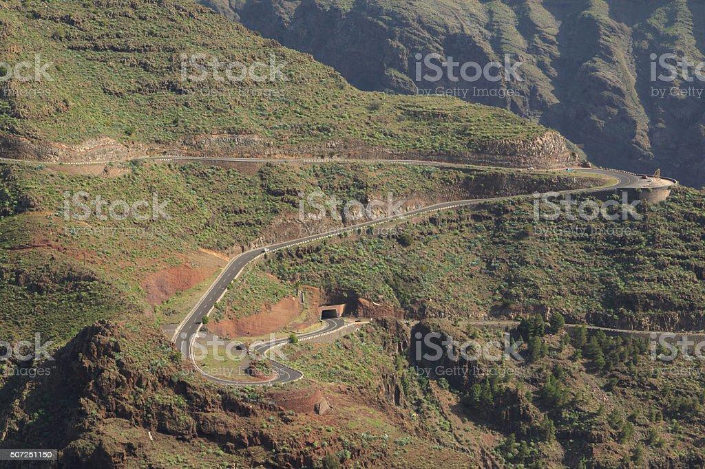 Winding Road in La Gomera stock photo