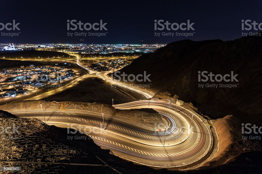 Winding road in Muscat, Oman stock photo