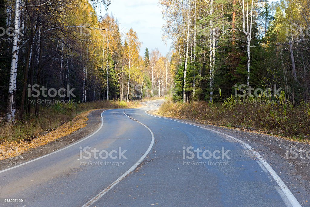 Winding road in the autumn forest stock photo