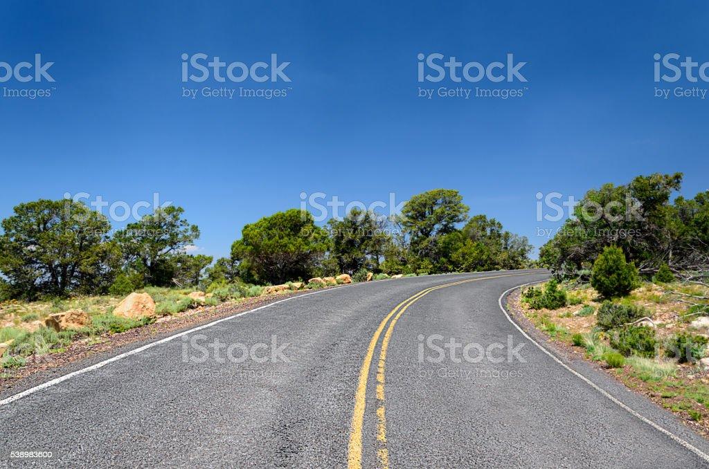 Winding road in the Grand Canyon National Park, Arizona, USA stock photo