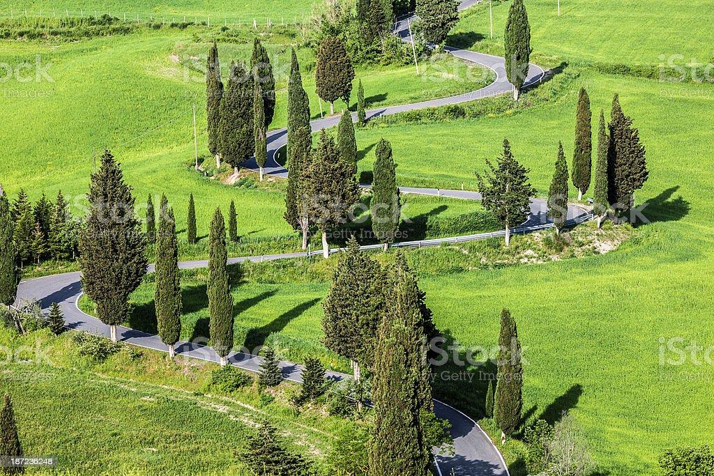 Winding Road in Tuscany, Italy stock photo