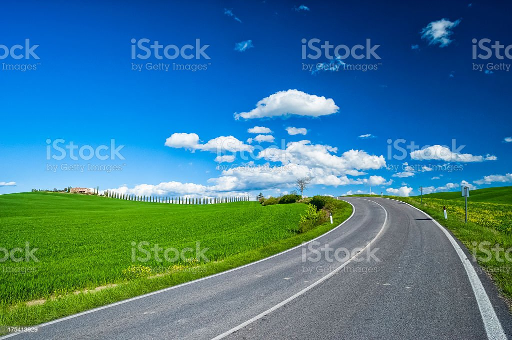 Winding road in Tuscany royalty-free stock photo