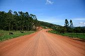 Winding Road Leading Through Kisoro District in Uganda