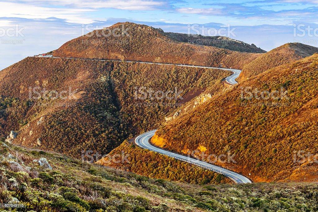 Winding Road, Marin Headlands Vista Point, California stock photo