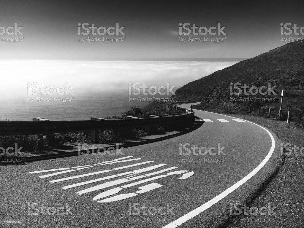 Winding Road near the Ocean stock photo