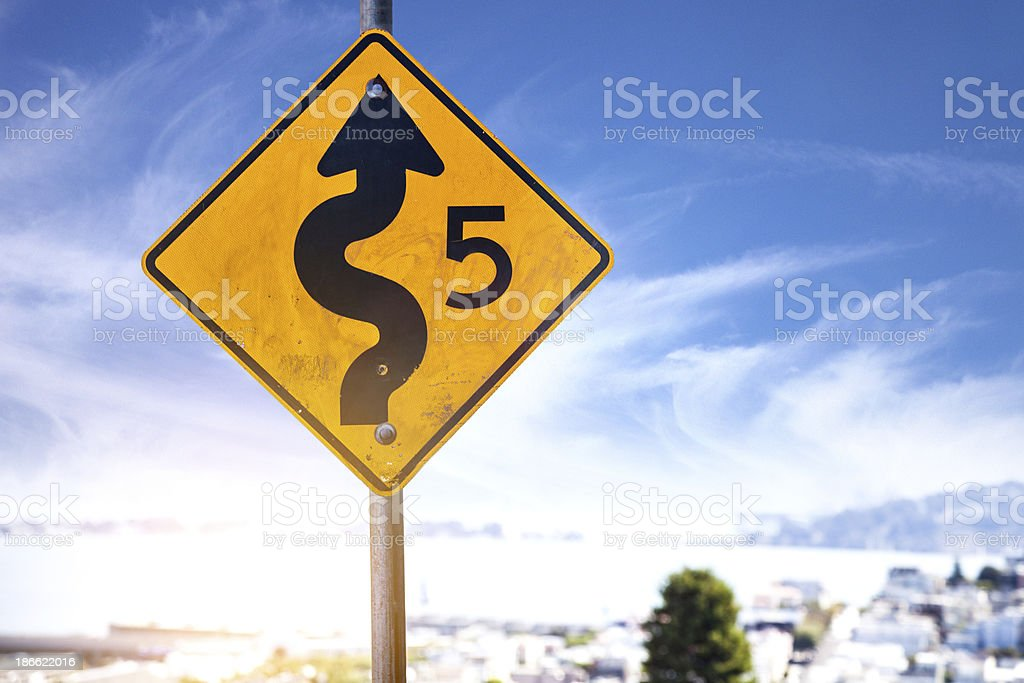 Winding road sign in Lombard Street royalty-free stock photo