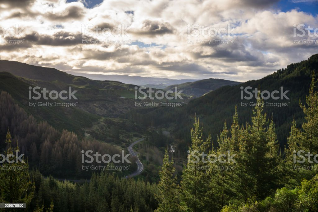 Winding Road Through Mountain Pass in Hawkes Bay, New Zealand stock photo