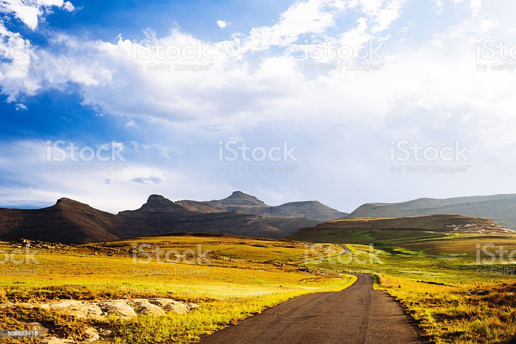 Winding road through the mountains stock photo