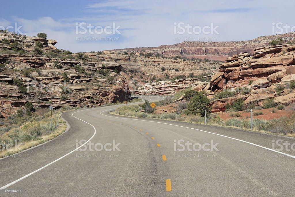 Winding Road Through Utah Desert royalty-free stock photo