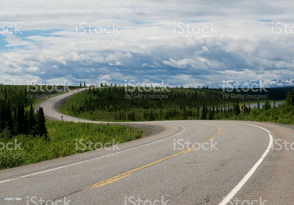 Winding Road to Denali stock photo