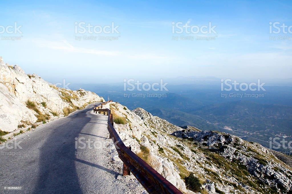 Winding road to sv. Jure peak in Biokovo mountains. stock photo