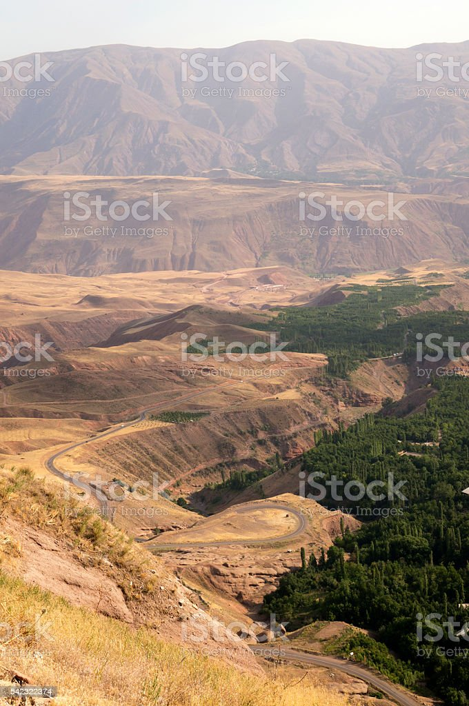 Winding road to the Alamut fortress, Iran stock photo