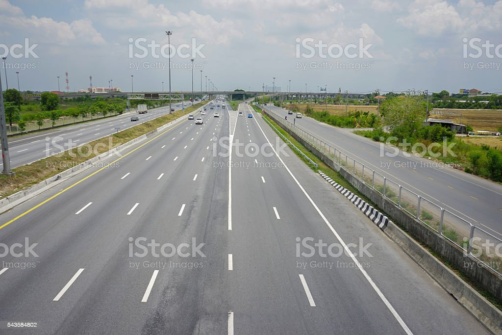 winding Road transport going to the distance stock photo
