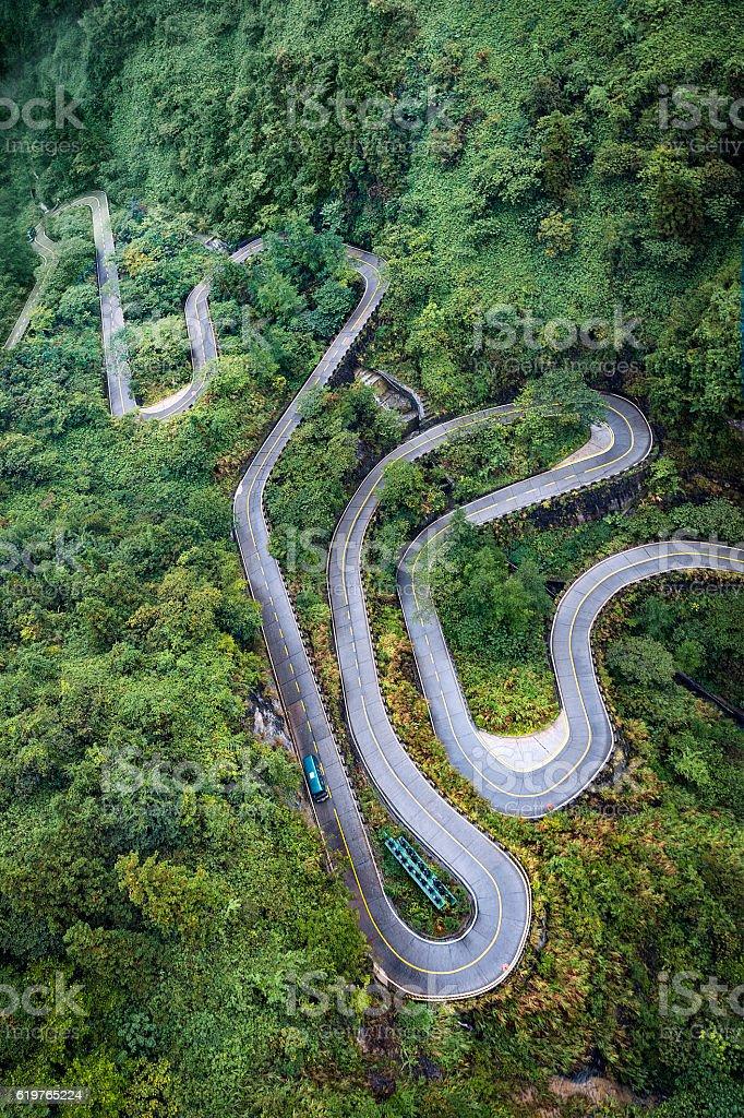 Winding roads of Zhangjiajie Tianmen shan stock photo