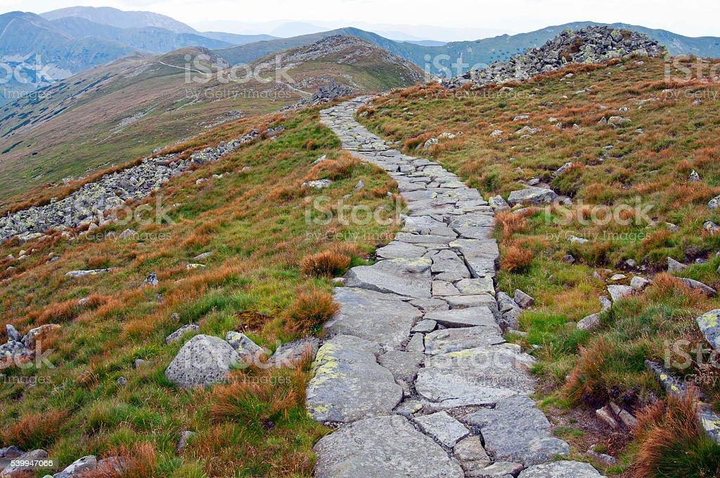 Winding rock trail path stock photo
