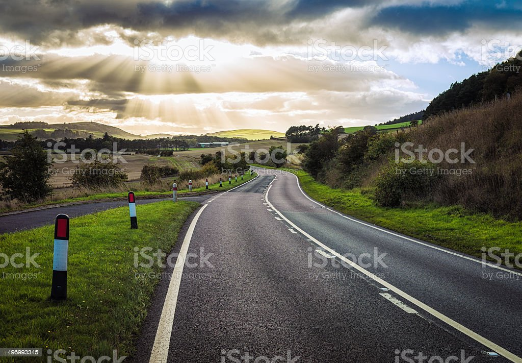 Winding Scottish Road stock photo