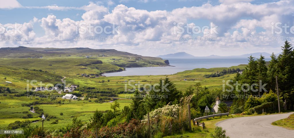Winding single track road at Glendale near Dunvegan on the Isle of Skye, Scotland, UK. stock photo