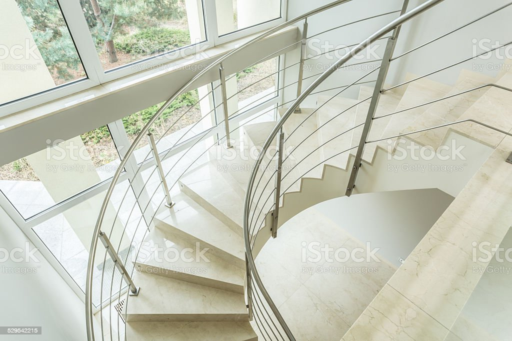 Winding stairs in luxury apartment stock photo