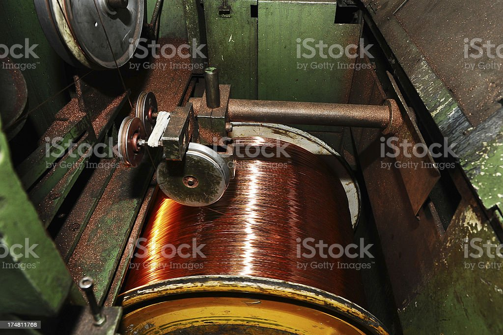 Winding the coil wire stock photo