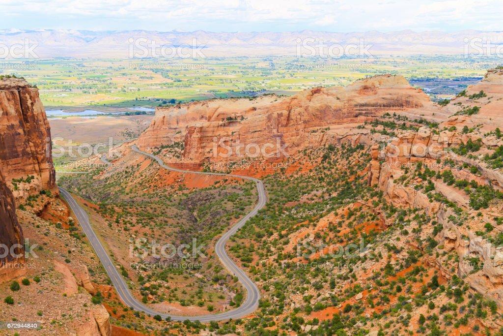Winding through Fruita Canyon stock photo