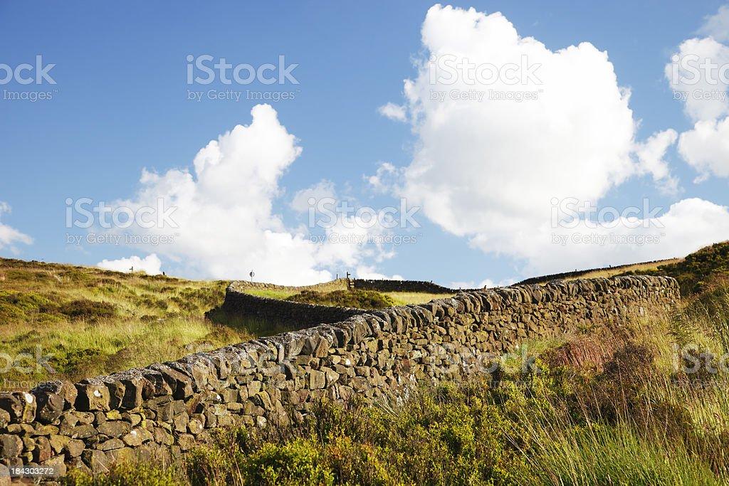 Winding Wall, Peak District, UK stock photo