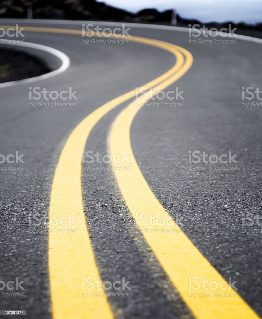 Winding Yellow Road Line stock photo