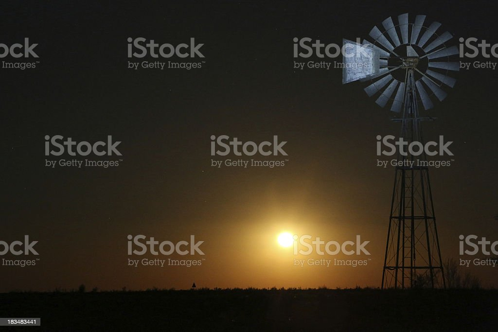 Windmil in moonlight royalty-free stock photo