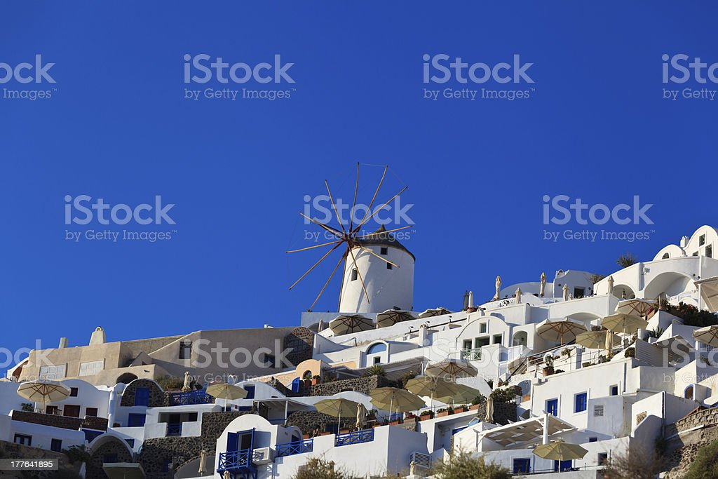 windmill and architecture of Santorini Greece royalty-free stock photo
