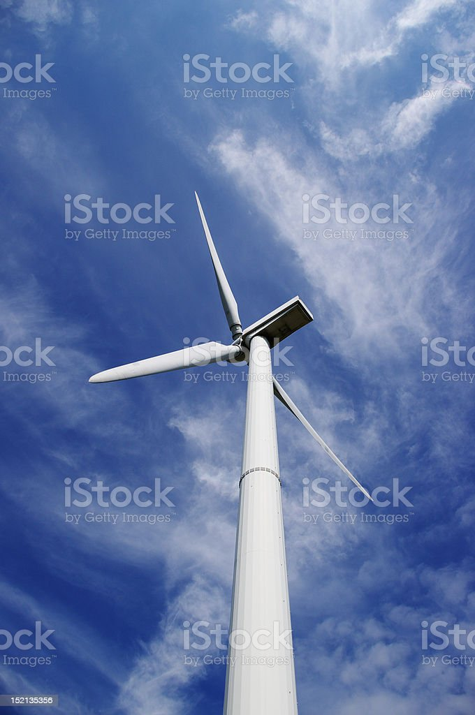 Windmill and blue sky stock photo