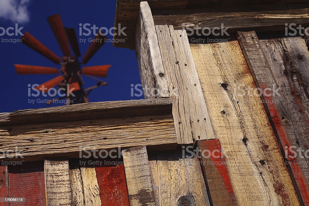 Windmill and flaking Wild West building, Apalachian trail, Arizona, USA royalty-free stock photo