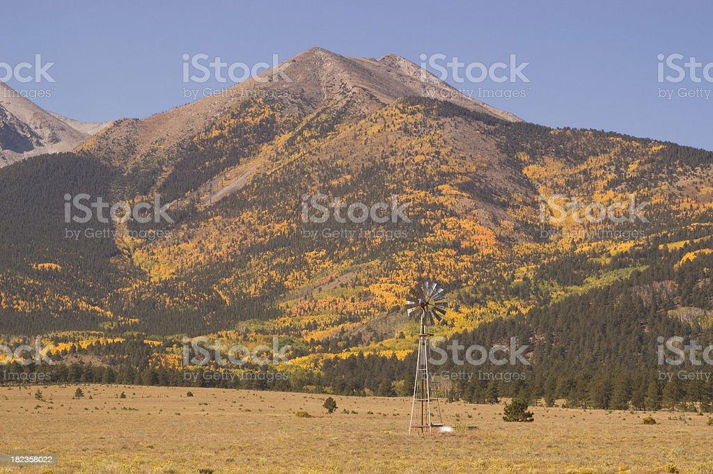 Windmill and Mount Princeton Fall stock photo