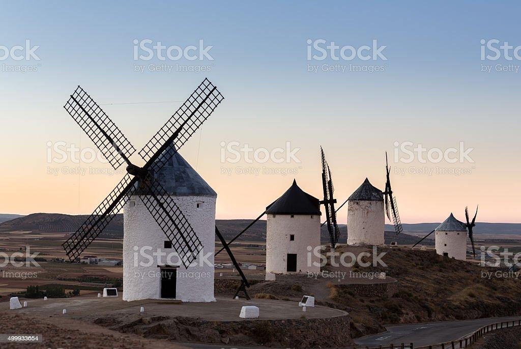 Windmill at Consuegra, La Mancha, Spain stock photo