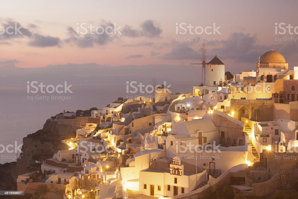 Windmill at Oia on Santorini in the Cyclades, Greece royalty-free stock photo