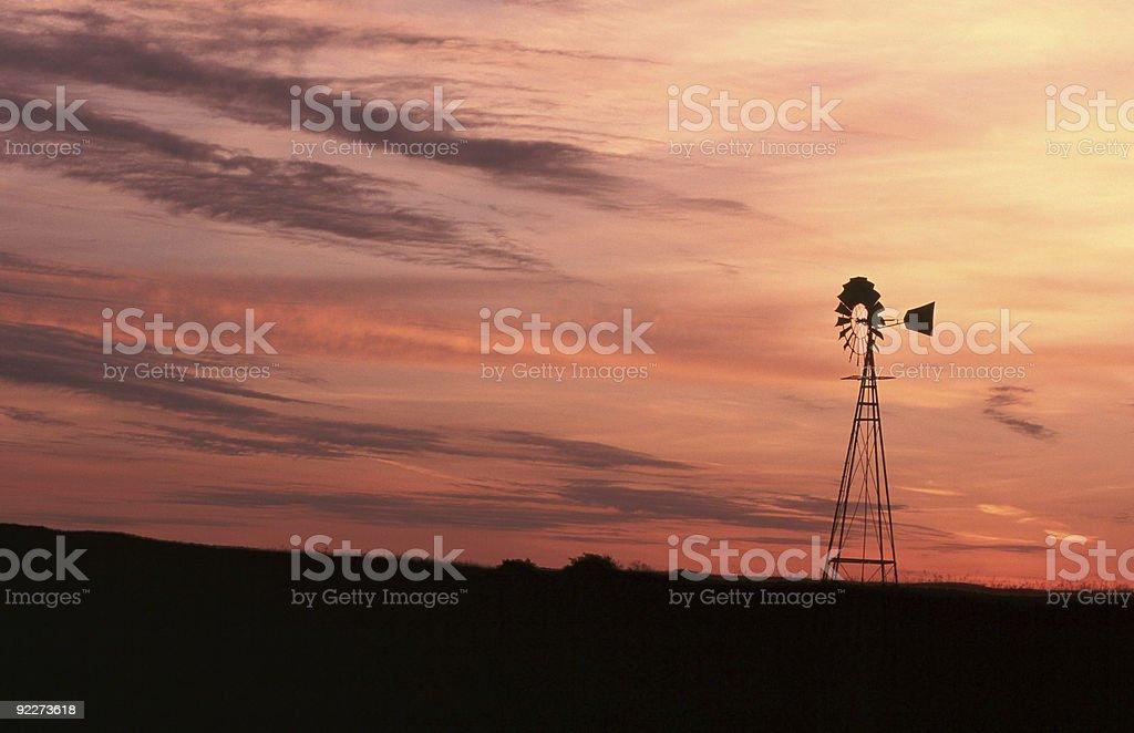 Windmill at Sunrise. stock photo