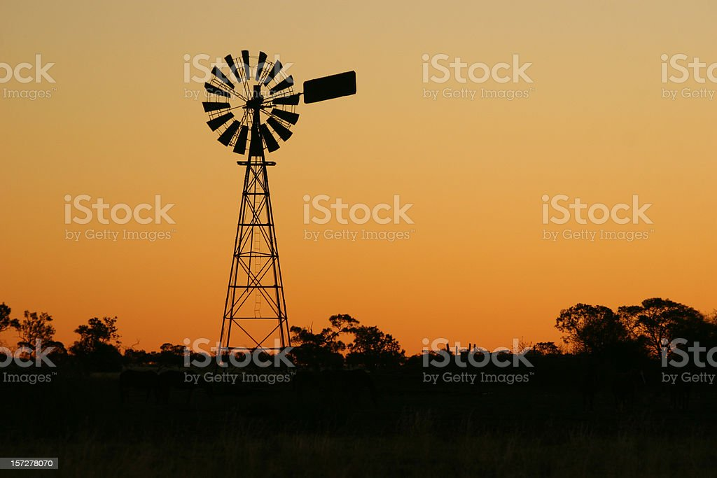Windmill at Sunset royalty-free stock photo