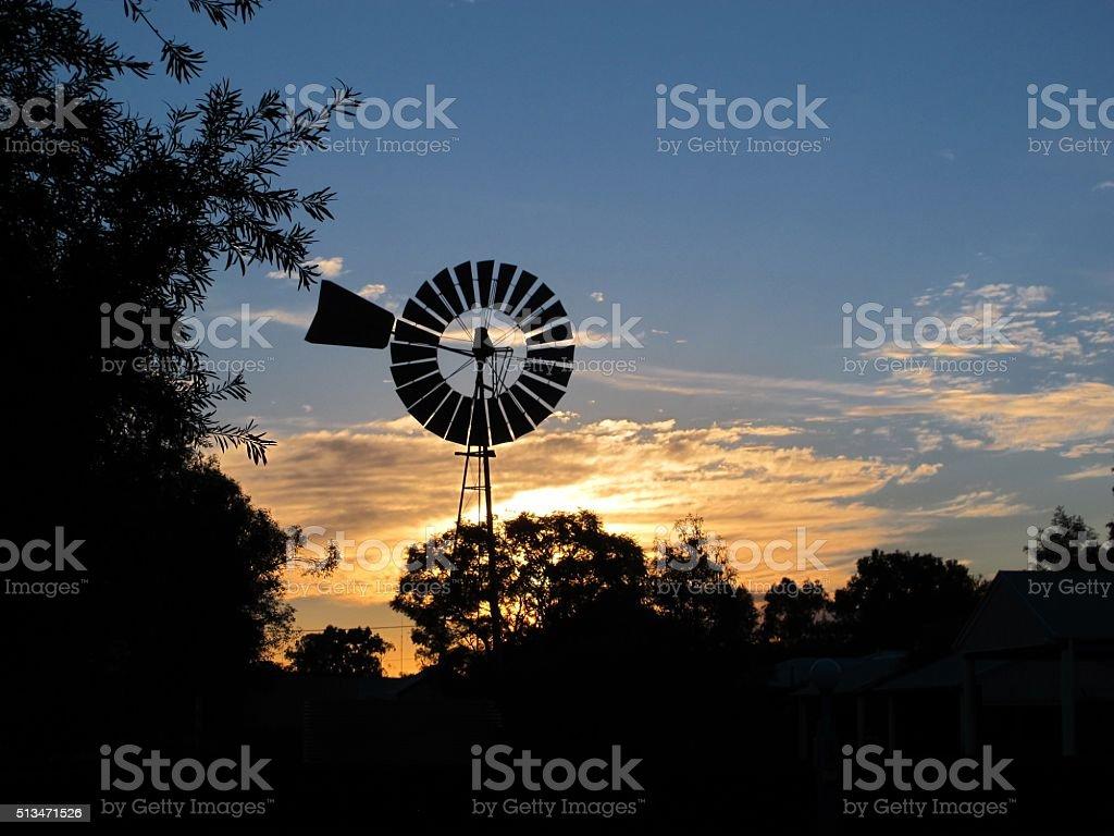 Windmill at Sunset stock photo