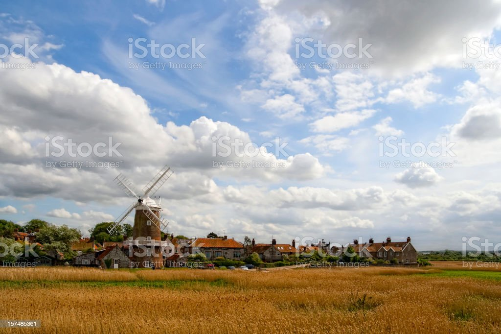 Windmill beside the marshes at Cley-next-the-Sea, Norfolk royalty-free stock photo