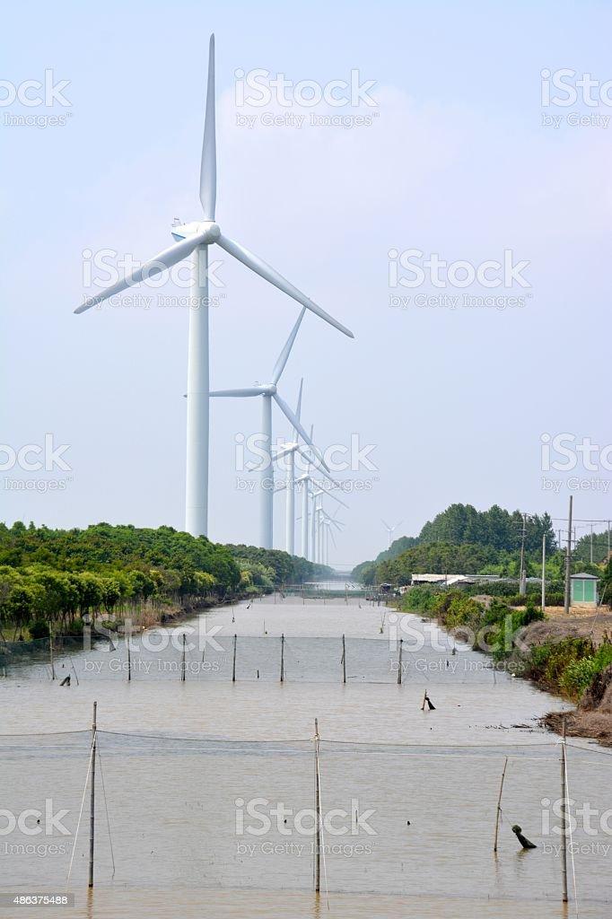Windmill blades in Chongming island, Shanghai stock photo