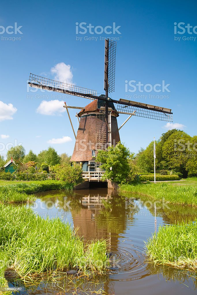 Windmill by the Amstel, Amsterdam stock photo