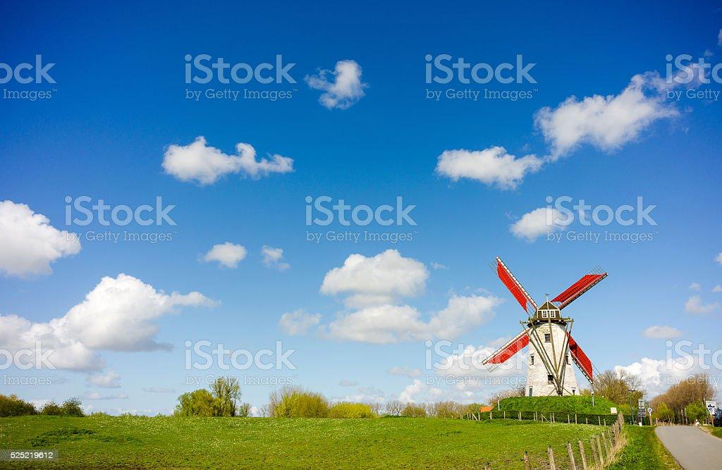 Windmill, Damme, Belgium stock photo