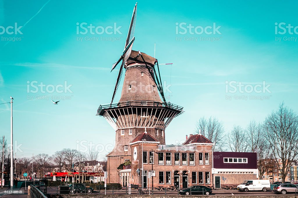 Windmill in Amsterdam, Netherlands stock photo