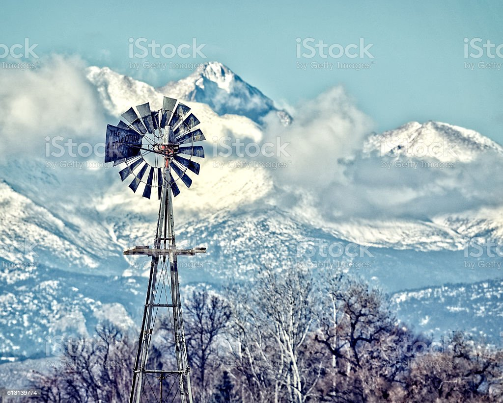 Windmill in Boulder County Colorado stock photo
